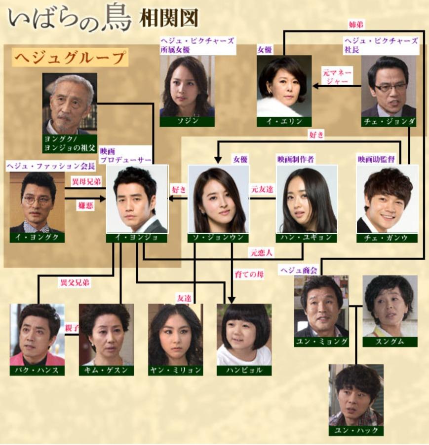 韓国ドラマ『いばらの鳥』登場人物相関図(関係図)