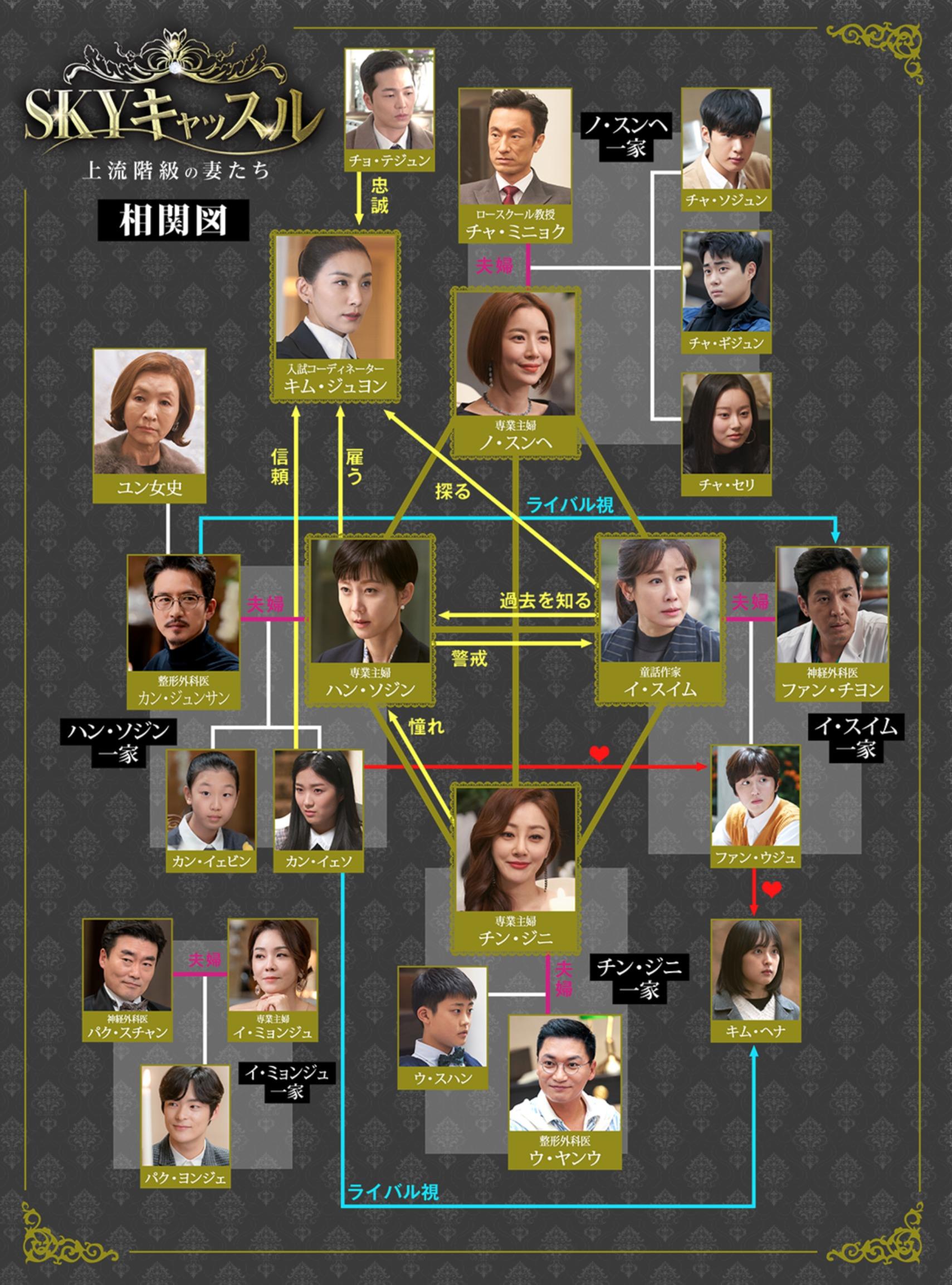 韓国ドラマ『SKYキャッスル~上流階級の妻たち~』登場人物相関図(関係図)